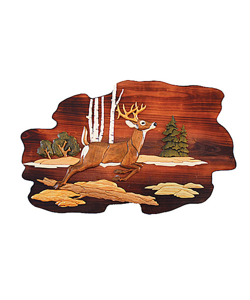 Intarsia Wood Art - Jumping Deer